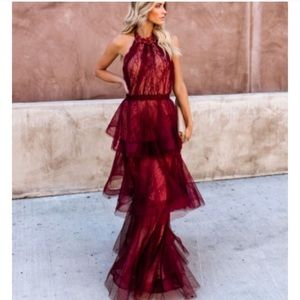 Vici Dulce Tulle Tiered Lace Dress in Wine